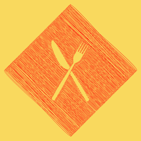 Fork and Knife sign. Vector. Red scribble icon obtained as a result of subtraction rhomb and path. Royal yellow background. Illustration