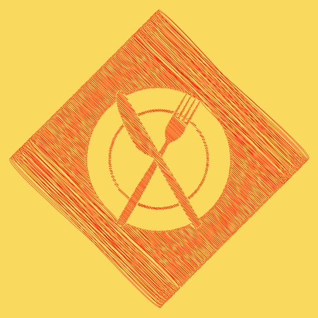 Fork, Knife and Plate sign. Vector. Red scribble icon obtained as a result of subtraction rhomb and path. Royal yellow background. Illustration