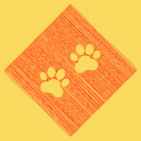 silueta de gato: Animal Tracks sign. Vector. Red scribble icon obtained as a result of subtraction rhomb and path. Royal yellow background.