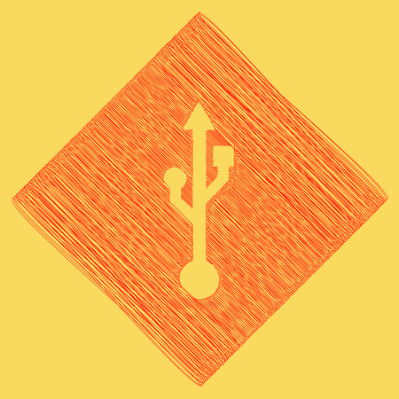 USB sign illustration. Vector. Red scribble icon obtained as a result of subtraction rhomb and path. Royal yellow background.