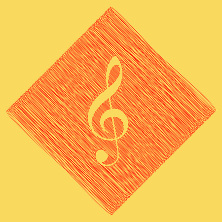 Music violin clef sign. G-clef. Treble clef. Vector. Red scribble icon obtained as a result of subtraction rhomb and path. Royal yellow background.