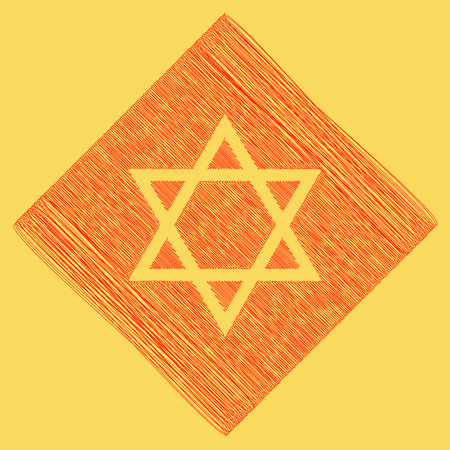 Shield Magen David Star. Symbol of Israel. Vector. Red scribble icon obtained as a result of subtraction rhomb and path. Royal yellow background. Illustration