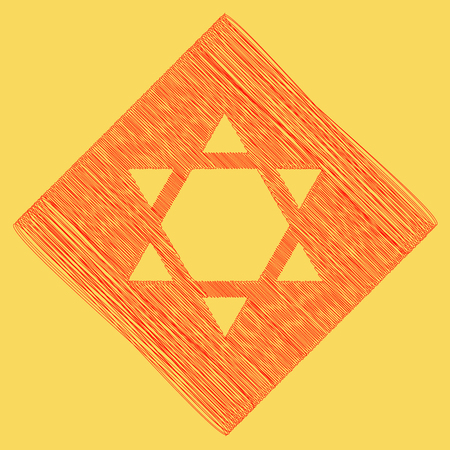 Shield Magen David Star Inverse. Symbol of Israel inverted. Vector. Red scribble icon obtained as a result of subtraction rhomb and path. Royal yellow background.