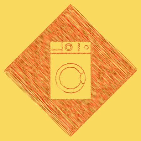 major household appliance: Washing machine sign. Vector. Red scribble icon obtained as a result of subtraction rhomb and path. Royal yellow background.