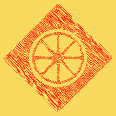 Fruits lemon sign. Vector. Red scribble icon obtained as a result of subtraction rhomb and path. Royal yellow background.