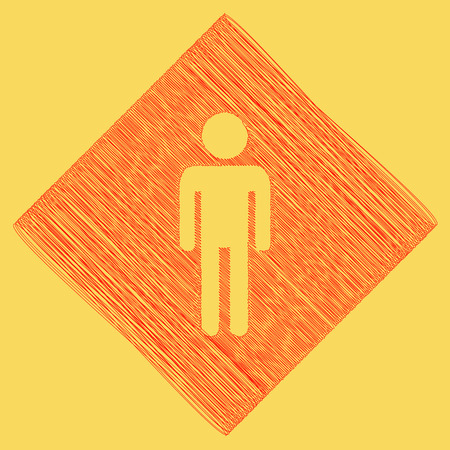 Man sign illustration. Vector. Red scribble icon obtained as a result of subtraction rhomb and path. Royal yellow background.