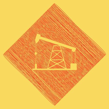 sea pollution: Oil drilling rig sign. Vector. Red scribble icon obtained as a result of subtraction rhomb and path. Royal yellow background.