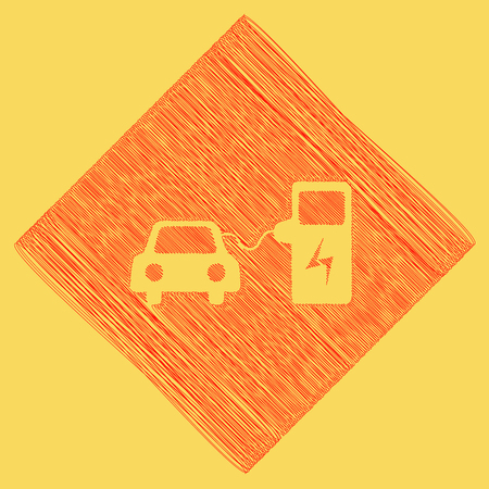power cables: Electric car battery charging sign. Vector. Red scribble icon obtained as a result of subtraction rhomb and path. Royal yellow background.