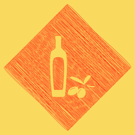 mediterranean diet: Black olives branch with olive oil bottle sign. Vector. Red scribble icon obtained as a result of subtraction rhomb and path. Royal yellow background.