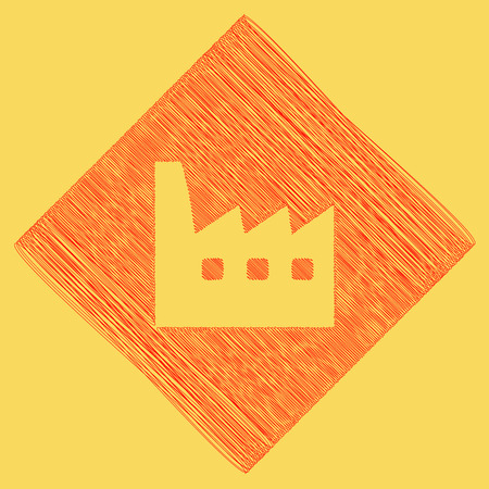 Factory sign illustration. Vector. Red scribble icon obtained as a result of subtraction rhomb and path. Royal yellow background.