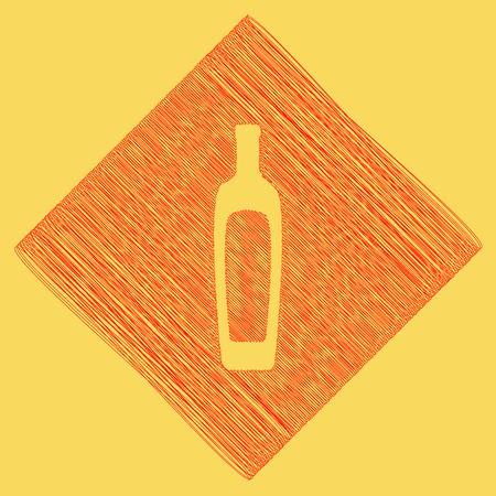 Olive oil bottle sign. Vector. Red scribble icon obtained as a result of subtraction rhomb and path. Royal yellow background.