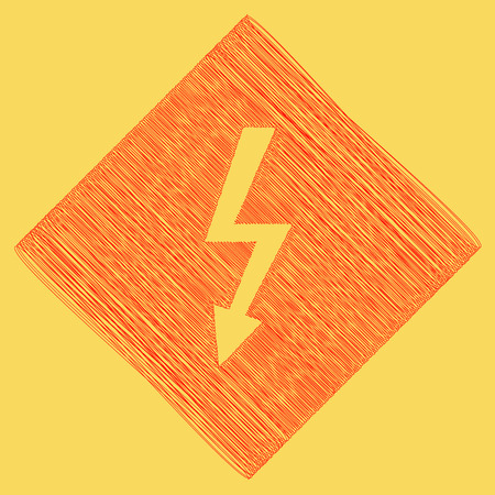 volte: High voltage danger sign. Vector. Red scribble icon obtained as a result of subtraction rhomb and path. Royal yellow background.