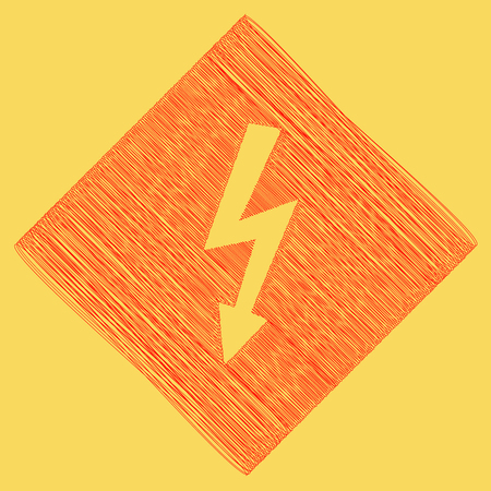High voltage danger sign. Vector. Red scribble icon obtained as a result of subtraction rhomb and path. Royal yellow background.