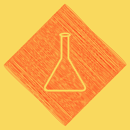 Conical Flask sign. Laboratory glass sign. Vector. Red scribble icon obtained as a result of subtraction rhomb and path. Royal yellow background.