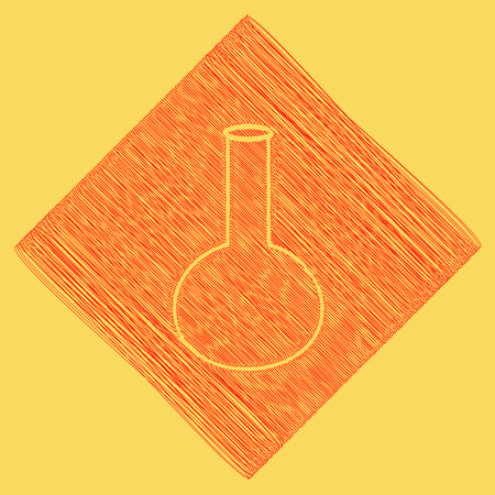 Tube. Laboratory glass sign. Vector. Red scribble icon obtained as a result of subtraction rhomb and path. Royal yellow background.