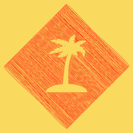 Coconut palm tree sign. Vector. Red scribble icon obtained as a result of subtraction rhomb and path. Royal yellow background. Illustration