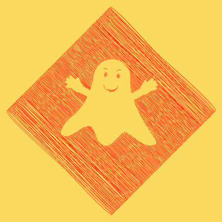 phantom: Ghost sign. Vector. Red scribble icon obtained as a result of subtraction rhomb and path. Royal yellow background.