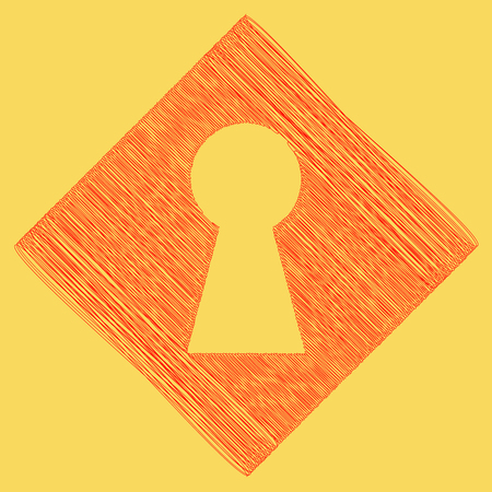 Keyhole sign illustration. Vector. Red scribble icon obtained as a result of subtraction rhomb and path. Royal yellow background.
