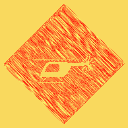 Helicopter sign illustration. Vector. Red scribble icon obtained as a result of subtraction rhomb and path. Royal yellow background. Illustration