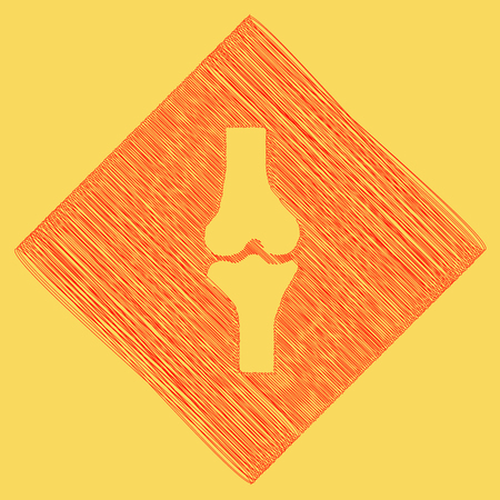 Knee joint sign. Vector. Red scribble icon obtained as a result of subtraction rhomb and path. Royal yellow background.
