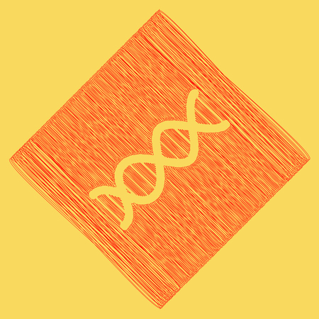 The DNA sign. Vector. Red scribble icon obtained as a result of subtraction rhomb and path. Royal yellow background.