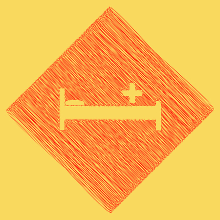 paciente en camilla: Hospital sign illustration. Vector. Red scribble icon obtained as a result of subtraction rhomb and path. Royal yellow background.