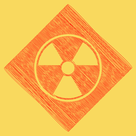 Radiation Round sign. Vector. Red scribble icon obtained as a result of subtraction rhomb and path. Royal yellow background.
