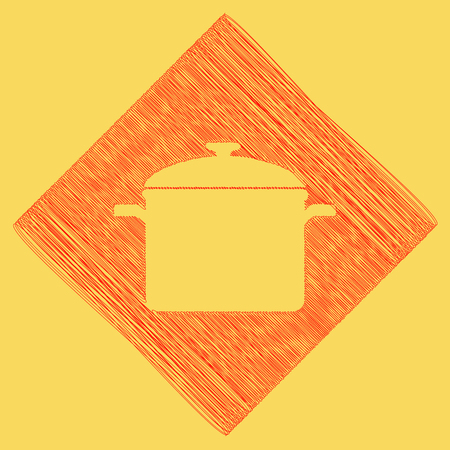 Cooking pan sign. Vector. Red scribble icon obtained as a result of subtraction rhomb and path. Royal yellow background. Иллюстрация
