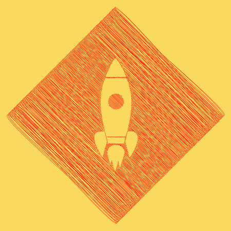 Rocket sign illustration. Vector. Red scribble icon obtained as a result of subtraction rhomb and path. Royal yellow background. Illustration