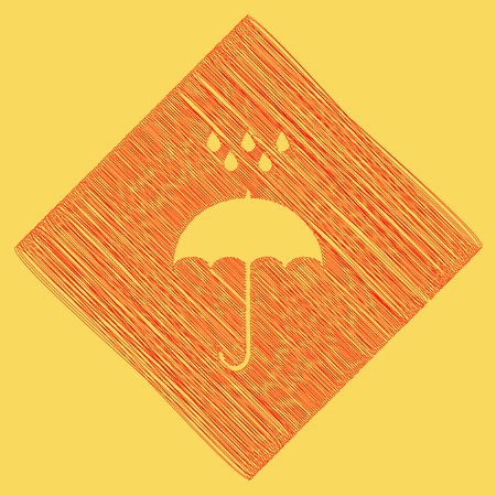 Umbrella with water drops. Rain protection symbol. Flat design style. Vector. Red scribble icon obtained as a result of subtraction rhomb and path. Royal yellow background.