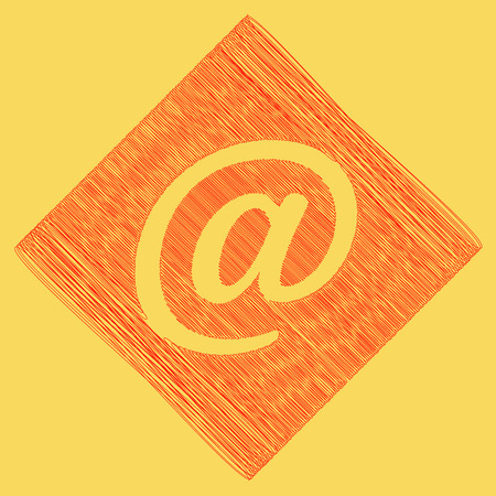 Mail sign illustration. Vector. Red scribble icon obtained as a result of subtraction rhomb and path. Royal yellow background.