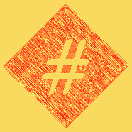 Hashtag sign illustration. Vector. Red scribble icon obtained as a result of subtraction rhomb and path. Royal yellow background. Illustration