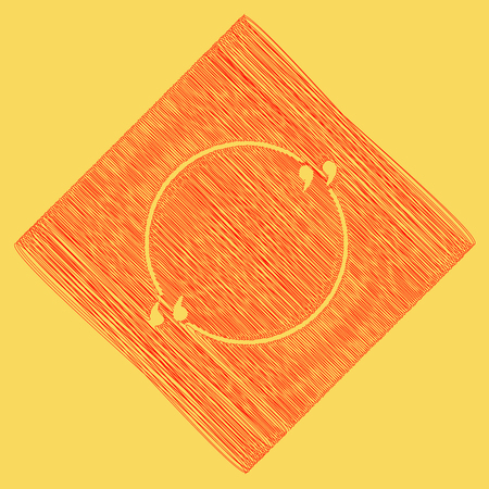 Text quote sign. Vector. Red scribble icon obtained as a result of subtraction rhomb and path. Royal yellow background. Illustration
