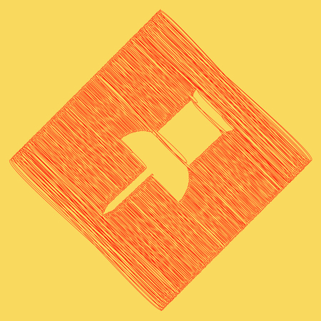 tack: Pin push sign. Vector. Red scribble icon obtained as a result of subtraction rhomb and path. Royal yellow background.
