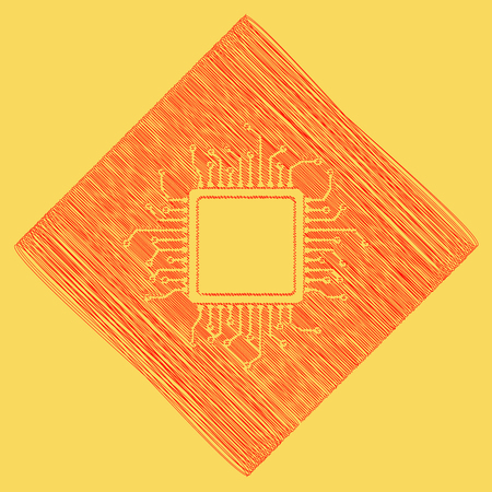 CPU Microprocessor illustration. Vector. Red scribble icon obtained as a result of subtraction rhomb and path. Royal yellow background. Illustration
