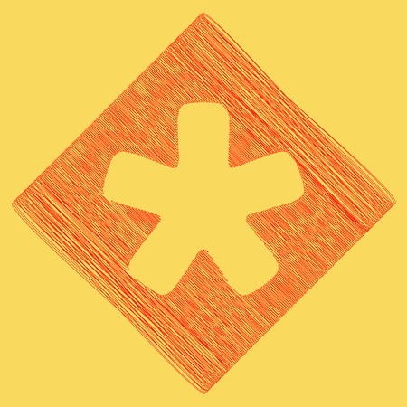 Asterisk star sign. Vector. Red scribble icon obtained as a result of subtraction rhomb and path. Royal yellow background.