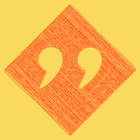 Quote sign illustration. Vector. Red scribble icon obtained as a result of subtraction rhomb and path. Royal yellow background. Illustration
