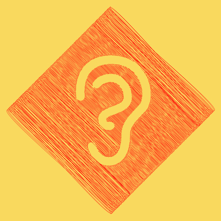 audible: Human anatomy. Ear sign. Vector. Red scribble icon obtained as a result of subtraction rhomb and path. Royal yellow background. Illustration