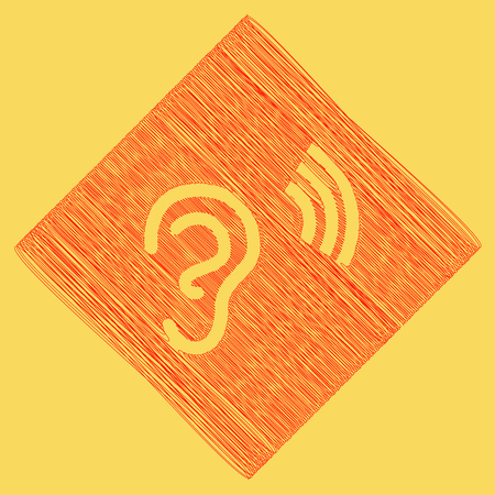 audible: Human anatomy. Ear sign with soundwave. Vector. Red scribble icon obtained as a result of subtraction rhomb and path. Royal yellow background.
