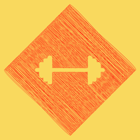 Dumbbell weights sign. Vector. Red scribble icon obtained as a result of subtraction rhomb and path. Royal yellow background.