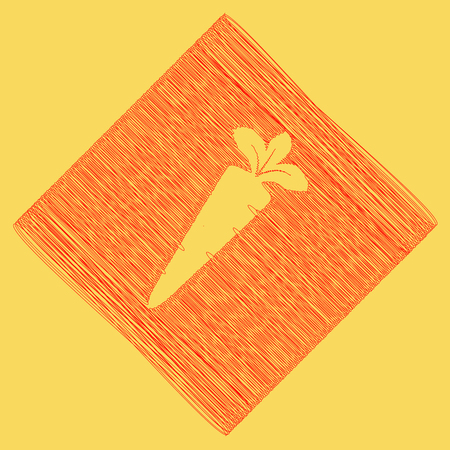 delectable: Carrot sign illustration. Vector. Red scribble icon obtained as a result of subtraction rhomb and path. Royal yellow background. Illustration