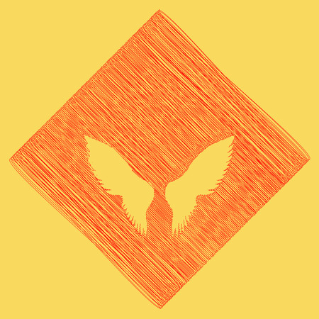 Wings sign illustration. Vector. Red scribble icon obtained as a result of subtraction rhomb and path. Royal yellow background. Illustration