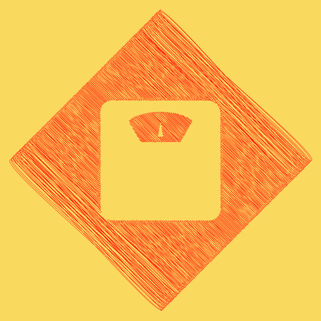analog weight scale: Bathroom scale sign. Vector. Red scribble icon obtained as a result of subtraction rhomb and path. Royal yellow background.