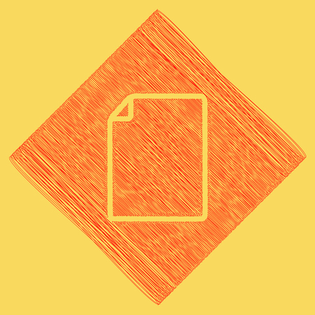 yellow notepad: Vertical document sign illustration. Vector. Red scribble icon obtained as a result of subtraction rhomb and path. Royal yellow background.