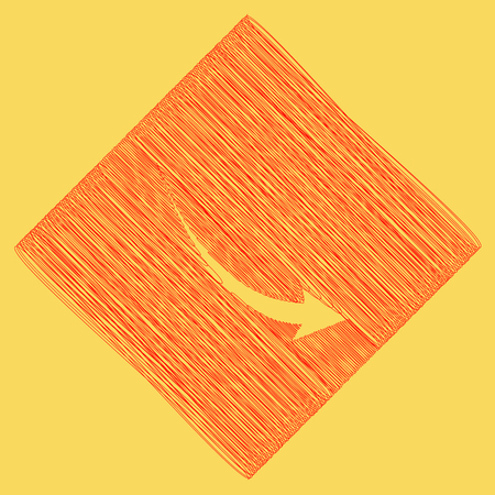 declining: Declining arrow sign. Vector. Red scribble icon obtained as a result of subtraction rhomb and path. Royal yellow background.