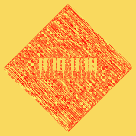 Piano Keyboard sign. Vector. Red scribble icon obtained as a result of subtraction rhomb and path. Royal yellow background.