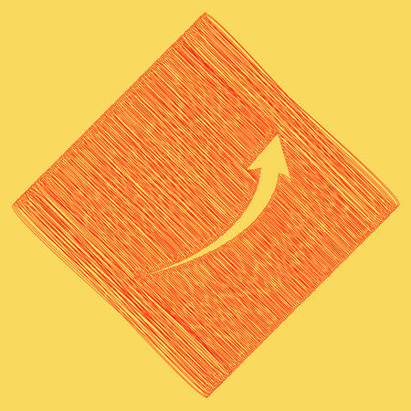 Growing arrow sign. Vector. Red scribble icon obtained as a result of subtraction rhomb and path. Royal yellow background.