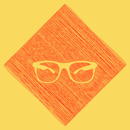 Sunglasses sign illustration. Vector. Red scribble icon obtained as a result of subtraction rhomb and path. Royal yellow background.