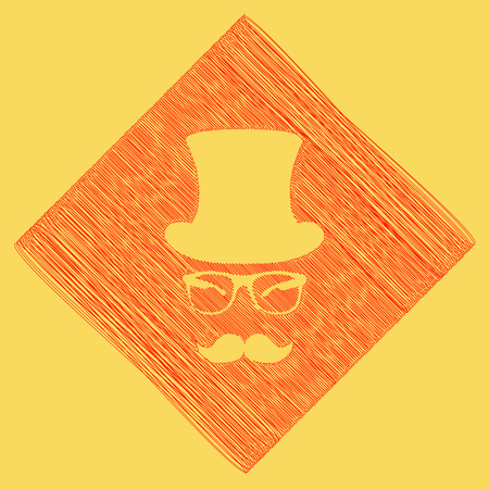 Hipster accessories design. Vector. Red scribble icon obtained as a result of subtraction rhomb and path. Royal yellow background. Illustration
