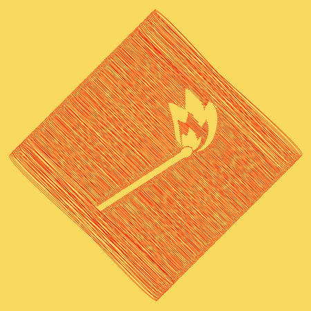 Match sign illustration. Vector. Red scribble icon obtained as a result of subtraction rhomb and path. Royal yellow background.